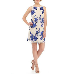 Beige by eci Embroidered blue rose dress S